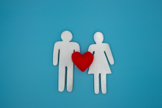 White symbol man and woman hold the red heart,  relationship,