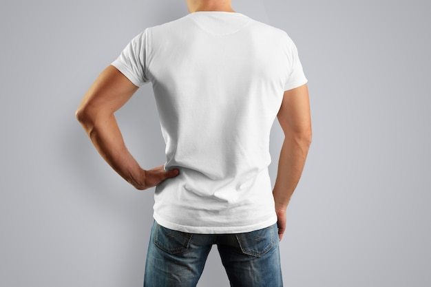 A white t-shirt is looking from the back. design for clothes.