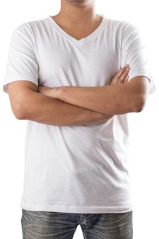 White t-shirt on a man