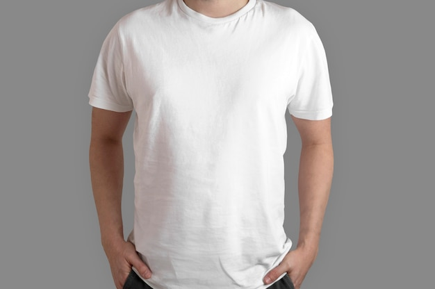 White t-shirt model front view