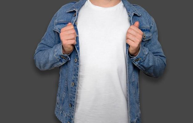 ジャケット付きホワイトtシャツモデル