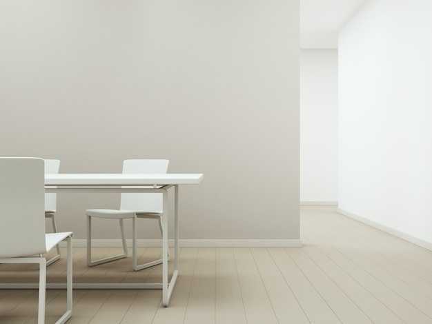 空のベージュのコンクリートの壁の背景と木製の床に白いテーブルと椅子。