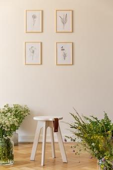 ポスターとシンプルなリビングルームのインテリアの木製の床の植物の間の白いテーブル。本物の写真