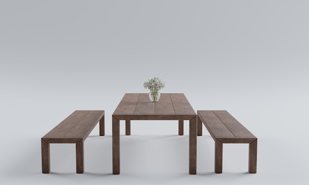 White table chair background picture 3d rendering