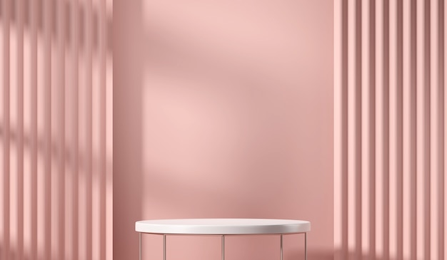 Платформа белого стола для презентации продукта с мягким розовым занавесом