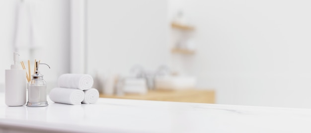 White table top with shampoo bottle hand towels toiletries over blurred modern bright bathroom 3d