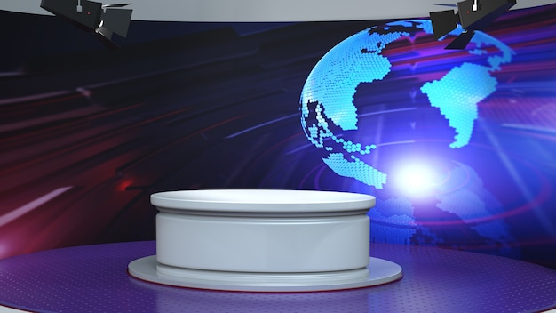 White table with world map news background in news studio
