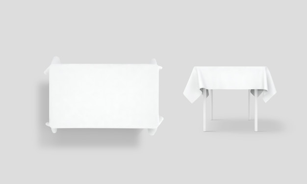 White tablecloth mock up set
