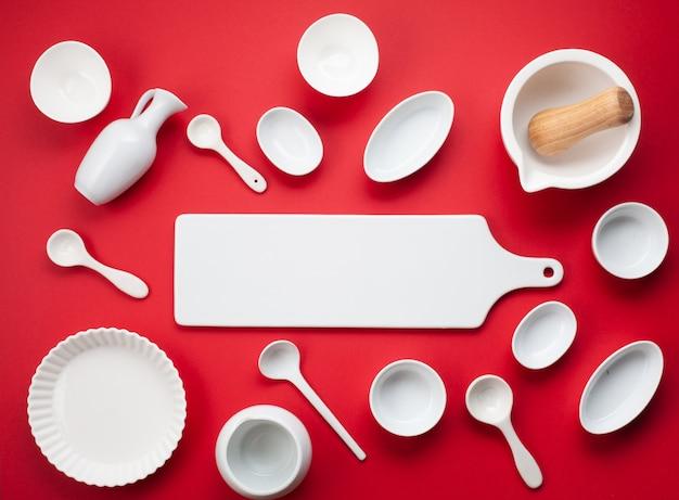 White tableware and kitchen utensils