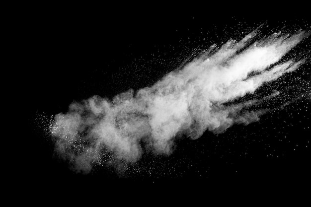 White talcume powder explosion on black