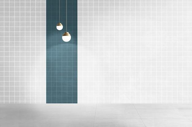 Interior design autentico della stanza vuota bianca e verde acqua