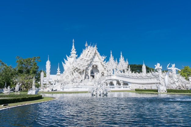 White temple bridge in chiang rai in northern thailand
