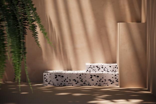モックアップベージュシーンの白いテラゾ、植物の前景をぼかします。製品のプレゼンテーションや広告の背景。 3dレンダリング