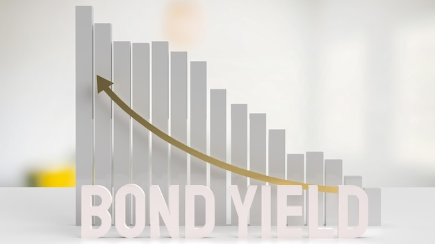 The white text bond yield and chart for business concept 3d rendering
