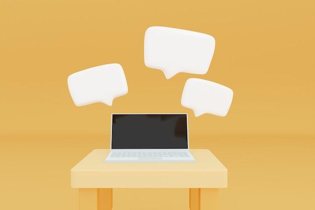갈색 방 3d 그림에서 노트북 컴퓨터에 흰색 텍스트 상자 대화 음성 팝업