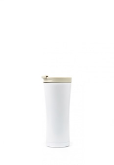 White thermos bottle isolated on white background with copy space