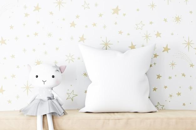White throw pillows mockup kid