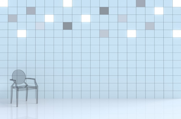 White  tile cube wall in white room decor with glass chair