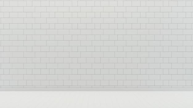 白いタイルの壁と床の空の部屋の背景