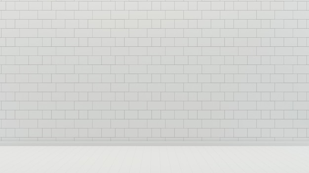 White tile wall and floor empty room background
