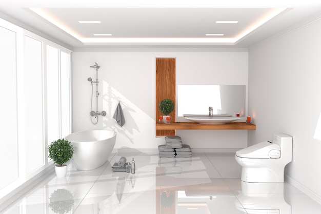 White toilet in bathroom interior