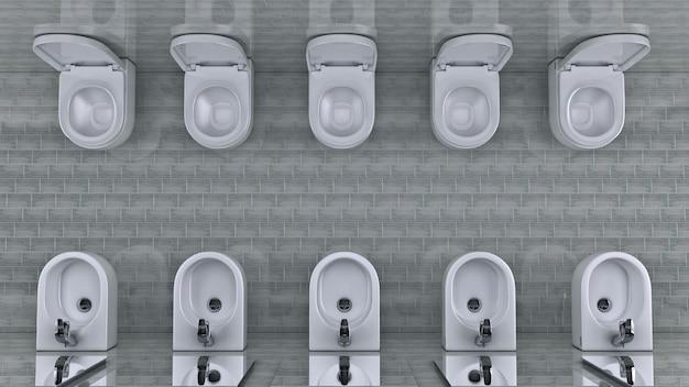 White toilet bowl in a bathroom 3d rendering