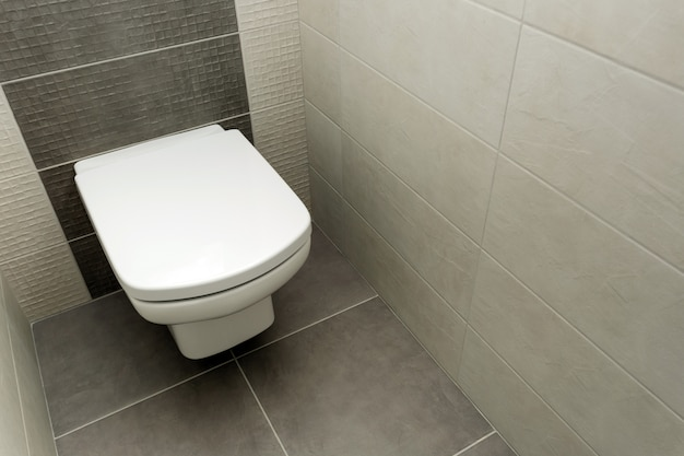 White toilet bowl in modern bathroom