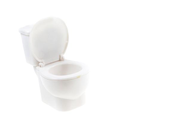 White toilet bowl on white background