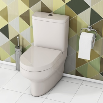Белая чаша унитаза с туалетной бумагой и металлической щеткой для унитаза перед крупным планом оливково-зеленых геометрических плиток крайним. 3d рендеринг Premium Фотографии
