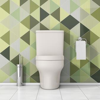 Белая чаша унитаза с туалетной бумагой и металлической щеткой для унитаза перед крупным планом оливково-зеленых геометрических плиток крайним. 3d рендеринг