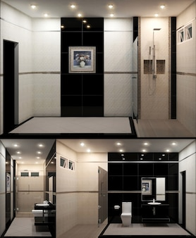 White toilet decoration in the bathroom. 3d rendering