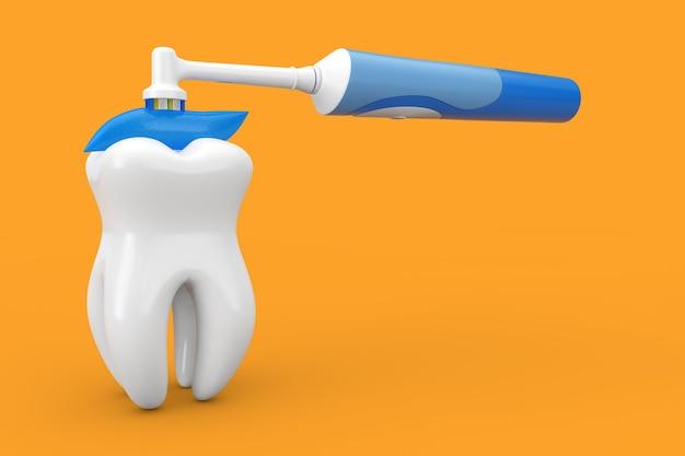 노란색 배경 3d 렌더링에 파란색 숯 치약이 있는 흰색 치아 및 전동 칫솔