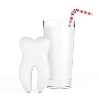 흰색 바탕에 우유 한 잔 앞의 하얀 치아. 3d 렌더링
