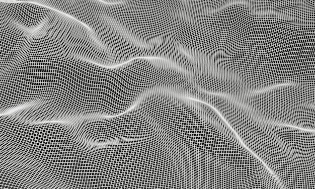 White topographic mountain grid wireframe