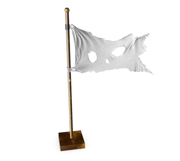 Белый рваный флаг. символ мира после войны. 3d визуализация