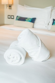 White towel on bed