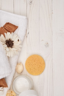 White towel cosmetics bathroom accessories wooden  scenery. high quality photo