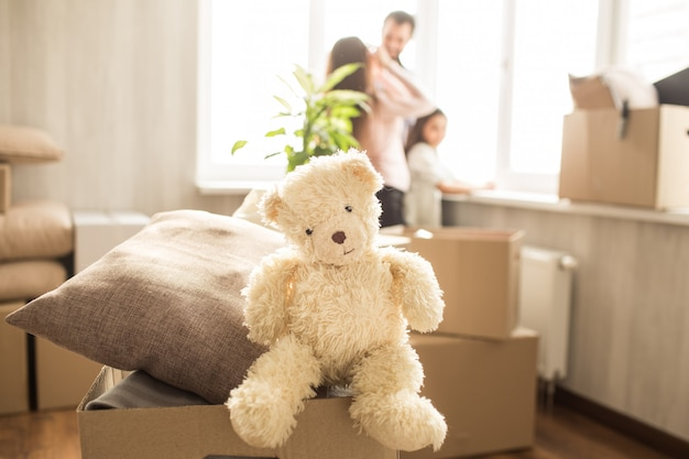 White toy bear on a box with pillows