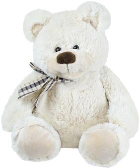 흰색 배경에 고립 된 흰색 장난감 곰