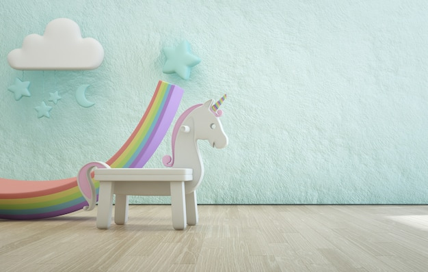 White toy unicorn on wooden floor of kids room with empty rough blue concrete texture wall.