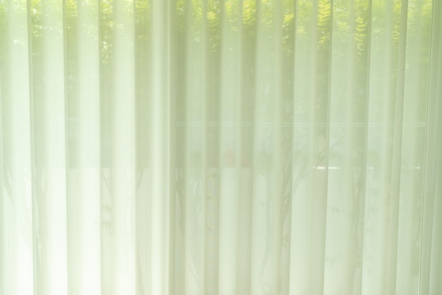 White translucent curtain or light filtering curtain at home