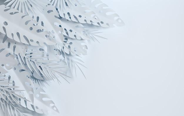 白い熱帯紙のヤシの葉のフレーム
