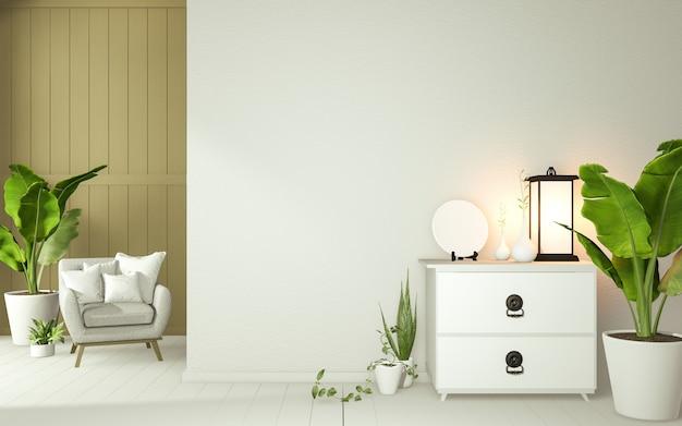 흰색 열대 선 룸 인테리어 디자인, 룸 일본 스타일을 조롱. 3d 렌더링