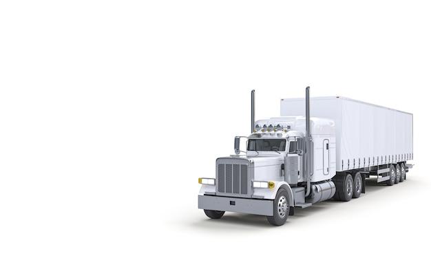 輸送用の白いトラック。ロジスティクスと輸送の概念。 3dレンダリング。