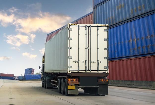 White truck in ship port