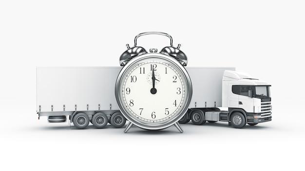 시계 3d 렌더링이 있는 흰색 트럭