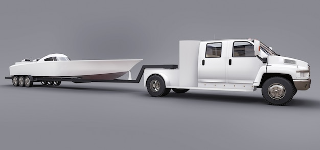 White truck with a trailer for transporting a racing boat on a grey space. 3d rendering.