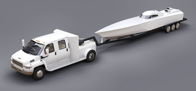 White truck with trailer for transporting racing boat on grey