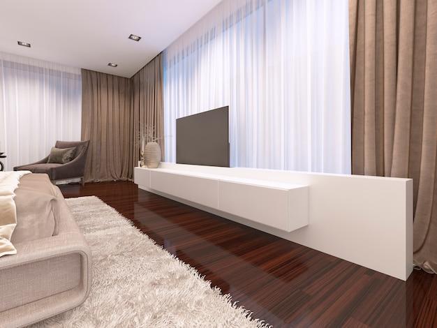 Белый телевизор с выдвижным телевизором 3d-рендеринг