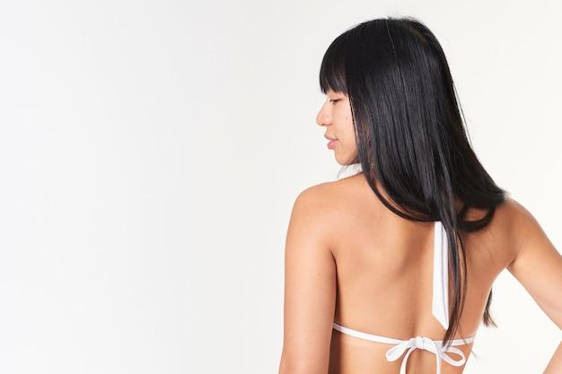 화이트 투피스 비키니 여성 수영복